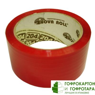 Клейкая лента (скотч) упаковочная красная. Размер: 48мм х 66м. Плотность 47 г/м2.